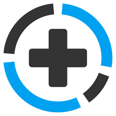 Health Care Diagram vector icon. Style is bicolor flat symbol, blue and gray colors, rounded angles, white background.