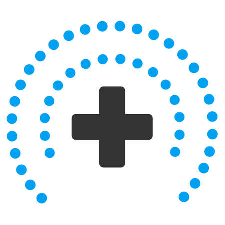 egészségügyi ellátás: Health Care Protection vector icon. Style is bicolor flat symbol, blue and gray colors, rounded angles, white background.