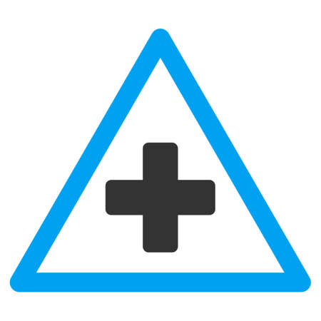 cross street with care: Health Warning vector icon. Style is bicolor flat symbol, blue and gray colors, rounded angles, white background.