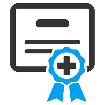 assertion: Medical Certificate vector icon. Style is bicolor flat symbol, blue and gray colors, rounded angles, white background.