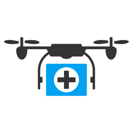 hospital icon: Medical Drone vector icon. Style is bicolor flat symbol, blue and gray colors, rounded angles, white background.
