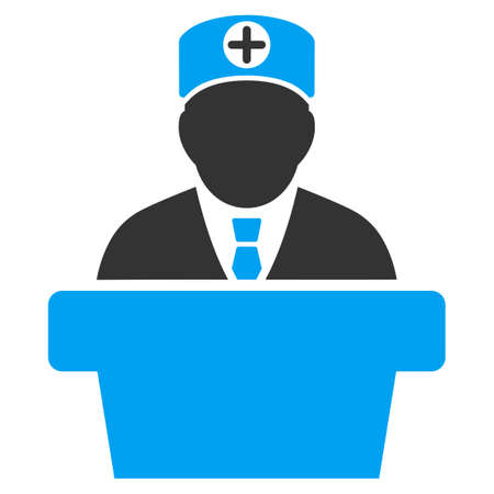 official: Medical Official Lecture vector icon. Style is bicolor flat symbol, blue and gray colors, rounded angles, white background.