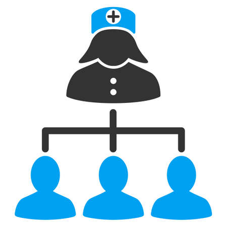 patients: Nurse Patients vector icon. Style is bicolor flat symbol, blue and gray colors, rounded angles, white background.