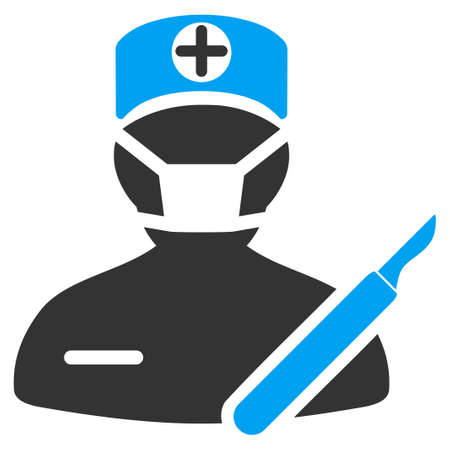 Surgeon vector icon. Style is bicolor flat symbol, blue and gray colors, rounded angles, white background. Иллюстрация