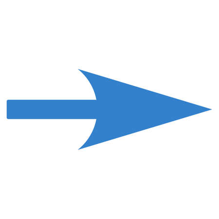 x axis: Arrow Axis X icon from Primitive Set. This isolated flat symbol is drawn with cobalt color on a white background. Stock Photo
