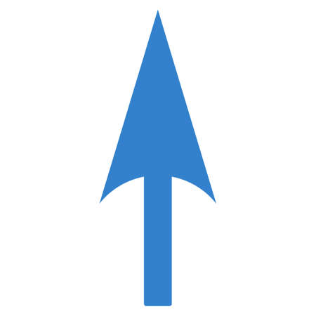 ordinate: Arrow Axis Y icon from Primitive Set. This isolated flat symbol is drawn with cobalt color on a white background, angles are rounded.