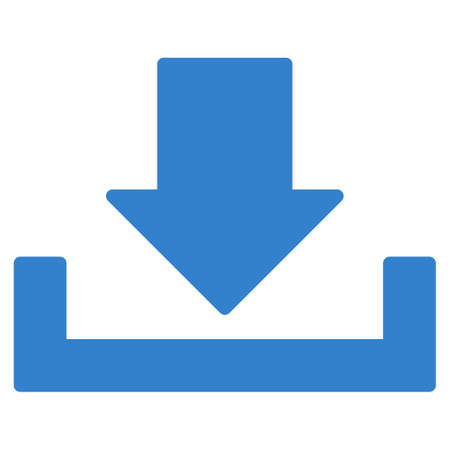 dropbox: Download icon from Primitive Set. This isolated flat symbol is drawn with cobalt color on a white background, angles are rounded. Stock Photo