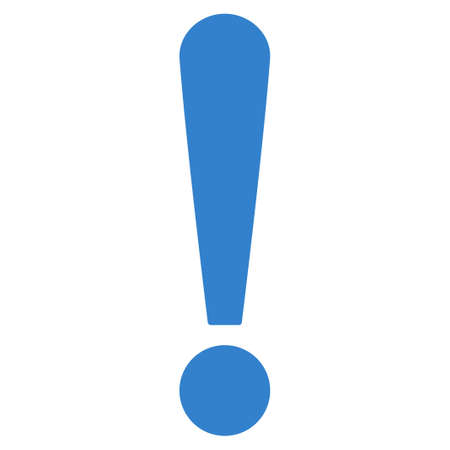 exclamation sign icon: Exclamation Sign icon from Primitive Set. This isolated flat symbol is drawn with cobalt color on a white background, angles are rounded. Stock Photo