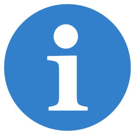 cobalt: Information icon from Primitive Set. This isolated flat symbol is drawn with cobalt color on a white background, angles are rounded. Stock Photo