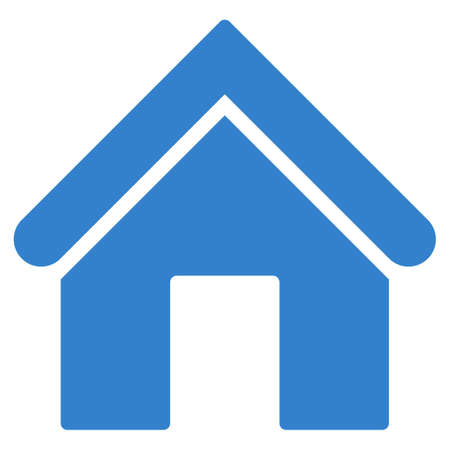 garage on house: Home icon from Primitive Set. This isolated flat symbol is drawn with cobalt color on a white background, angles are rounded.