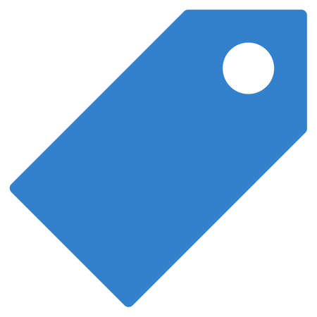 operand: Tag icon from Primitive Set. This isolated flat symbol is drawn with cobalt color on a white background, angles are rounded.