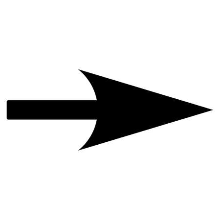 x axis: Arrow Axis X icon from Primitive Set. This isolated flat symbol is drawn with black color on a white background.