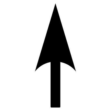 ordinate: Arrow Axis Y icon from Primitive Set. This isolated flat symbol is drawn with black color on a white background, angles are rounded.