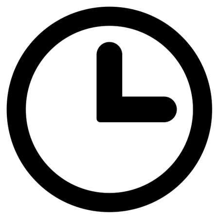 black pictogram: Clock icon from Primitive Set. This isolated flat symbol is drawn with black color on a white background, angles are rounded.