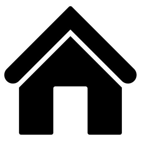 garage on house: Home icon from Primitive Set. This isolated flat symbol is drawn with black color on a white background, angles are rounded.