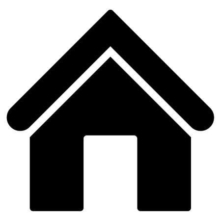 ikona domu z Primitive Set. Ten symbol jest izolowane płaskie ciągnione z czarnym kolorze na białym tle, kąty są zaokrąglone.