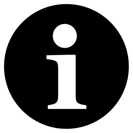 information icon: Information icon from Primitive Set. This isolated flat symbol is drawn with black color on a white background, angles are rounded.
