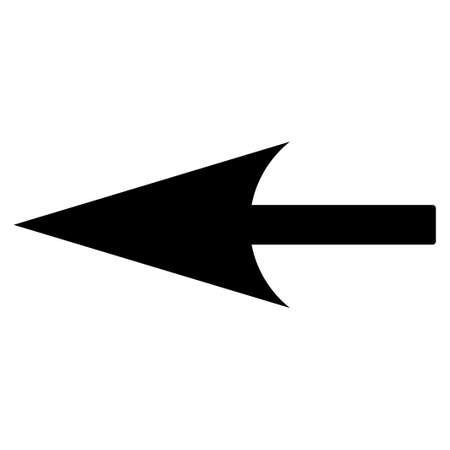 backwards: Sharp Left Arrow icon from Primitive Set. This isolated flat symbol is drawn with black color on a white background. Illustration