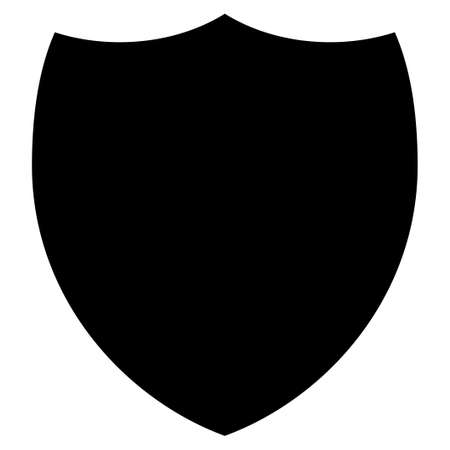 shield: Shield icon from Primitive Set. This isolated flat symbol is drawn with black color on a white background, angles are rounded.