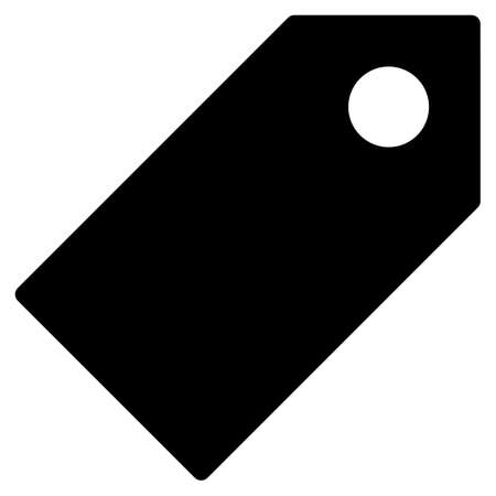 exemplar: Tag icon from Primitive Set. This isolated flat symbol is drawn with black color on a white background, angles are rounded. Illustration