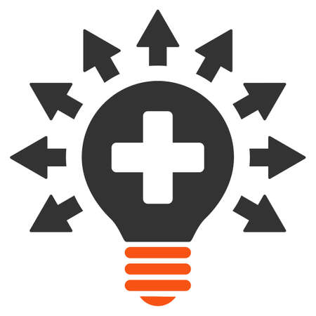 disinfection: Disinfection Lamp glyph icon. Style is bicolor flat symbol, orange and gray colors, rounded angles, white background.