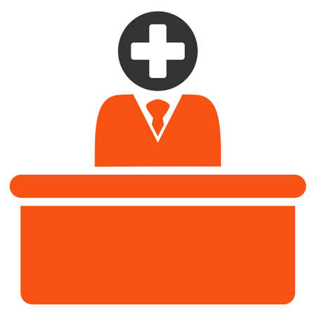 bureaucrat: Medical Bureaucrat glyph icon. Style is bicolor flat symbol, orange and gray colors, rounded angles, white background.