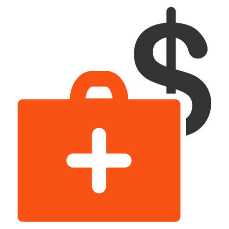 white fund: Medical Fund glyph icon. Style is bicolor flat symbol, orange and gray colors, rounded angles, white background.