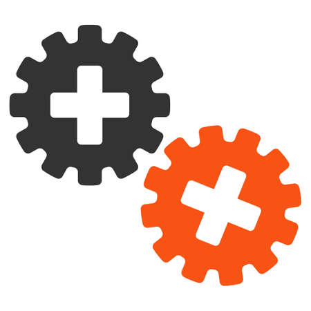 gear box: Medical Gears glyph icon. Style is bicolor flat symbol, orange and gray colors, rounded angles, white background.