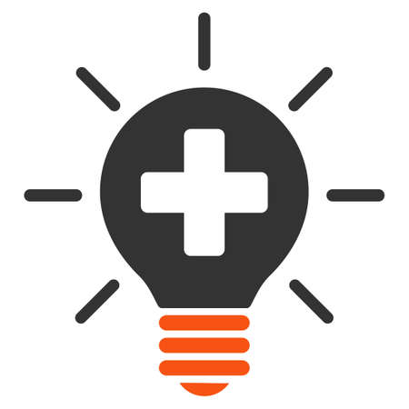 health science: Medical Lamp glyph icon. Style is bicolor flat symbol, orange and gray colors, rounded angles, white background.
