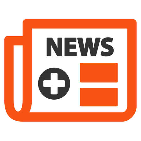 news current events: Medical Newspaper glyph icon. Style is bicolor flat symbol, orange and gray colors, rounded angles, white background. Stock Photo