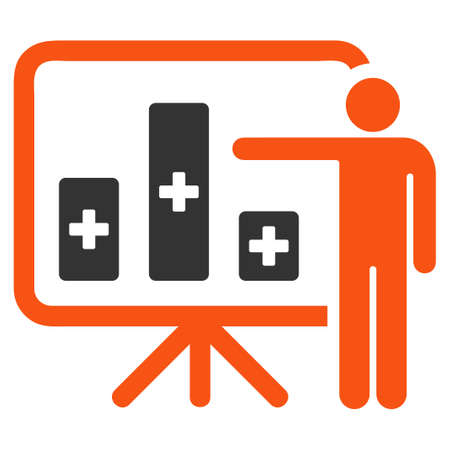 health care analytics: Medical Public Report glyph icon. Style is bicolor flat symbol, orange and gray colors, rounded angles, white background. Stock Photo