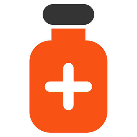 a solution tube: Medication Vial glyph icon. Style is bicolor flat symbol, orange and gray colors, rounded angles, white background.