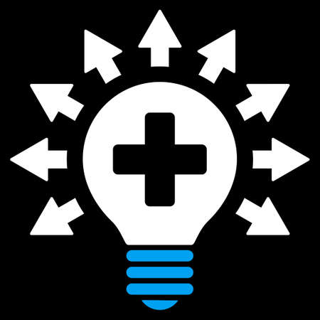medical distribution: Disinfection Lamp vector icon. Style is bicolor flat symbol, blue and white colors, rounded angles, black background.