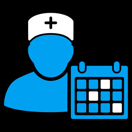 appointments: Doctor Calendar vector icon. Style is bicolor flat symbol, blue and white colors, rounded angles, black background.