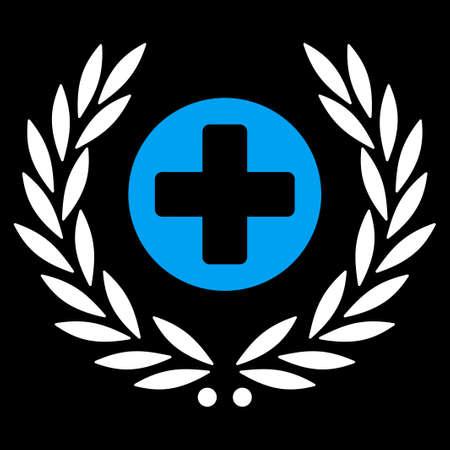 egészségügyi ellátás: Health Care Embleme vector icon. Style is bicolor flat symbol, blue and white colors, rounded angles, black background.