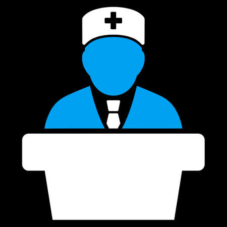official symbol: Health Care Official vector icon. Style is bicolor flat symbol, blue and white colors, rounded angles, black background.