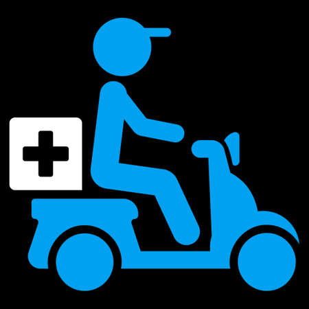 dosage: Drugs Motorbike Delivery vector icon. Style is bicolor flat symbol, blue and white colors, rounded angles, black background. Illustration