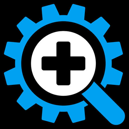 medical technology: Find Medical Technology vector icon. Style is bicolor flat symbol, blue and white colors, rounded angles, black background.