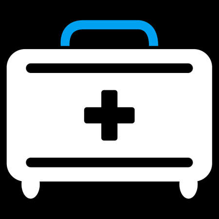 toolkit: First Aid Toolkit vector icon. Style is bicolor flat symbol, blue and white colors, rounded angles, black background.