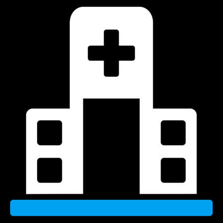 polyclinic: Hospital Building vector icon. Style is bicolor flat symbol, blue and white colors, rounded angles, black background.