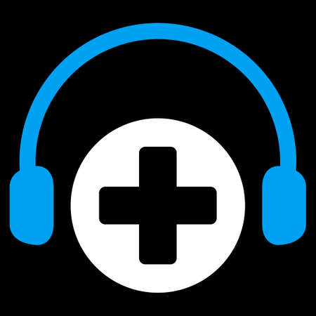 listening to music: Hospital Call Service vector icon. Style is bicolor flat symbol, blue and white colors, rounded angles, black background. Illustration