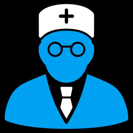 медик: Main Physician vector icon. Style is bicolor flat symbol, blue and white colors, rounded angles, black background.