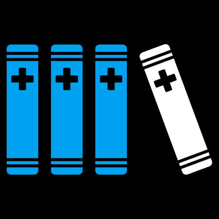 periodicals: Medical Books vector icon. Style is bicolor flat symbol, blue and white colors, rounded angles, black background.