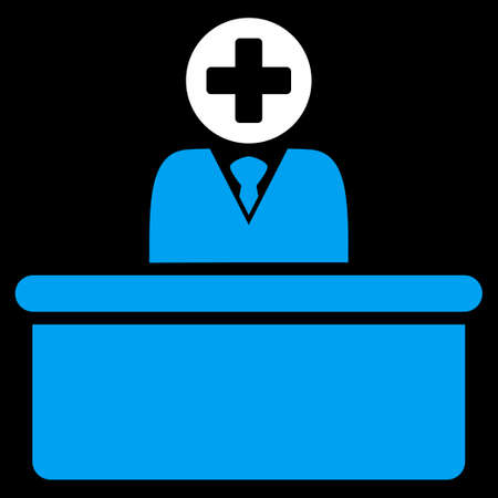 bureaucrat: Medical Bureaucrat vector icon. Style is bicolor flat symbol, blue and white colors, rounded angles, black background. Illustration