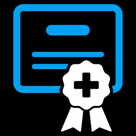 credential: Medical Certification vector icon. Style is bicolor flat symbol, blue and white colors, rounded angles, black background. Illustration