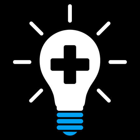 disinfection: Medical Electric Lamp vector icon. Style is bicolor flat symbol, blue and white colors, rounded angles, black background.