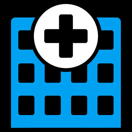 Hospital vector icon. Style is bicolor flat symbol, blue and white colors, rounded angles, black background. Illustration