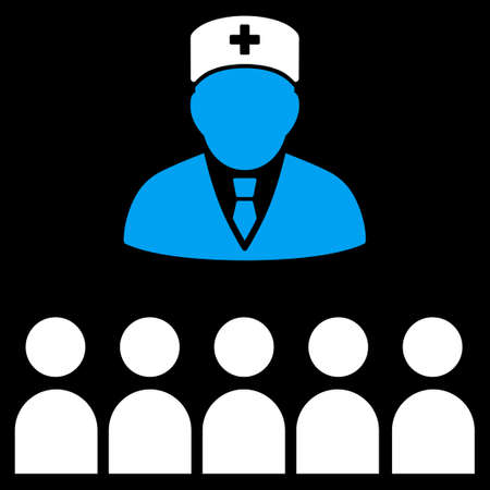 patients: Medical Class vector icon. Style is bicolor flat symbol, blue and white colors, rounded angles, black background.
