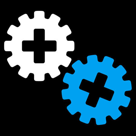 gear box: Medical Gears vector icon. Style is bicolor flat symbol, blue and white colors, rounded angles, black background. Illustration