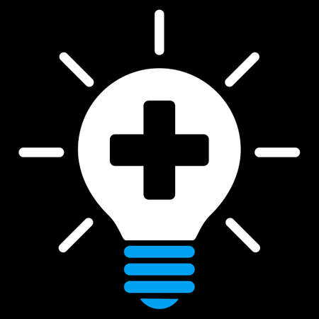 disinfection: Medical Lamp vector icon. Style is bicolor flat symbol, blue and white colors, rounded angles, black background.